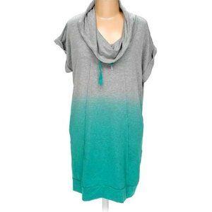 Pink Lotus Super Soft Gray & Green Tunic Dress L